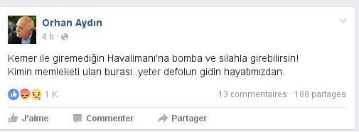 Tiyatro oyuncusu Orhan Aydın tepkisini böyle gösterdi.