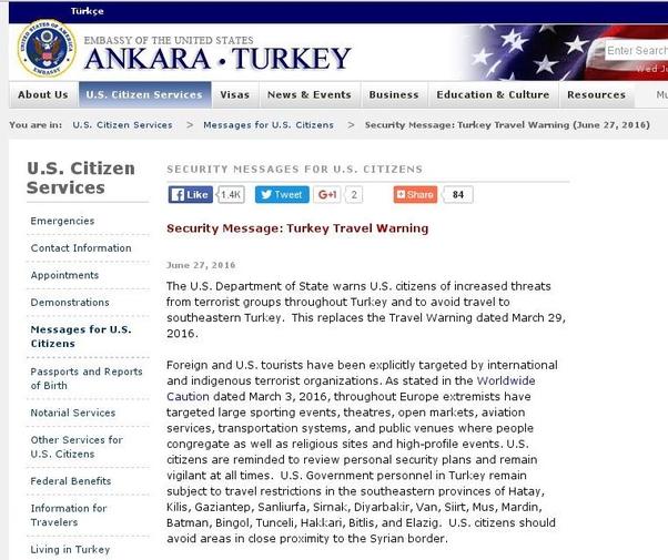 ABD Büyükelçiliği Türkiye'ye gidilmemesi yönünde yurttaşlarını uyarmıştı.
