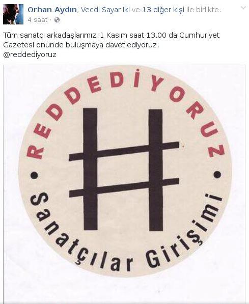 Sanatçılar Girişimi yarın Cumhuriyet Gazetesi'ne destek için eylem yapacak.