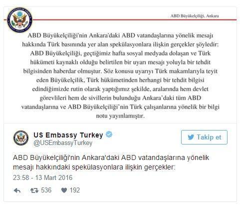 ABD Büyükelçiliği açıklama yaptı.
