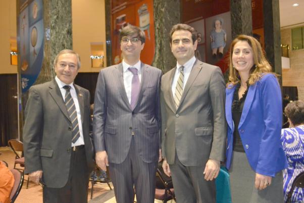 Dünya Azerbaycanlılar Günü'nde Mesud Aliev, Ramil Hüseyinli, Selçuk Ünal ve Rabiye Şeşen birlikte.
