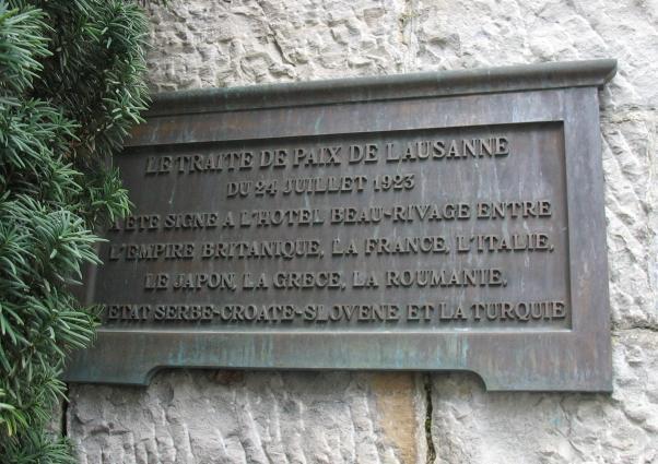Lozan Antlaşmasının burada yapıldığına ilişkin tarihsel levha.