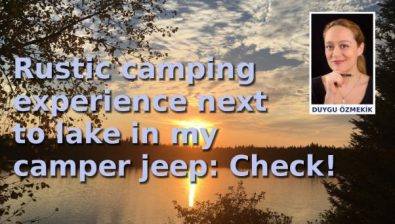 Rustic camping experience nextto lake in my camper jeep: Check!
