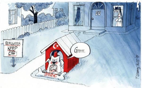 Türkiye AB ile 3 milyar avroluk anlaşma yaparken Avrupa'da böyle karikatürler yayınlanıyordu: 'Sığınmacılar, uzak durun'...
