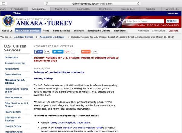 ABD yurttaşlarını uyarmış, TÜrk Hükümeti biliyormuş...