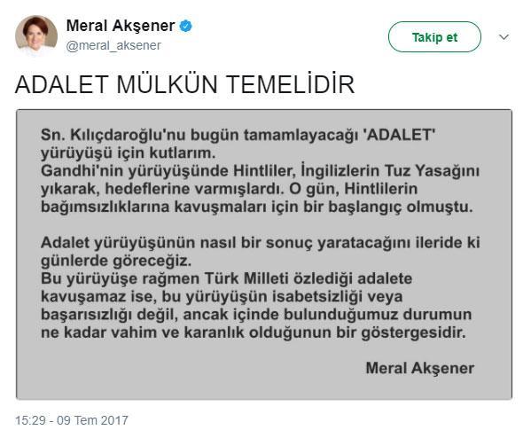 Meral Akşener destek verdi.