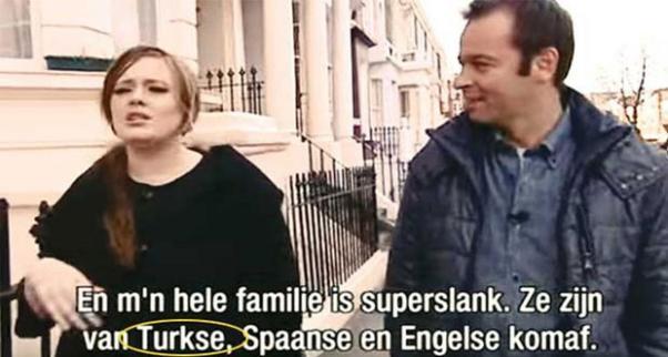 Adele söyleşide ailesinden Türk olarak söz ediyor.