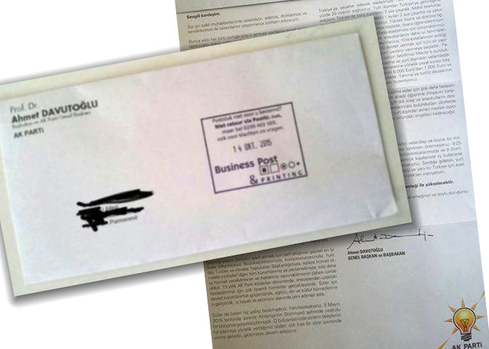 Davutoğlu imzasıyla yurtdışında yaşayan yurttaşlara mektup.