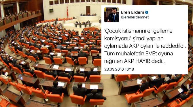 AKP Çocuk istismarını araştırma ve engelleme komisyonuna ret oyu verdi.