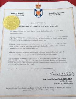 Noca Scotia Meclisi Çanakkale Şehitleri anısına dikilen anıt için karar aldı.