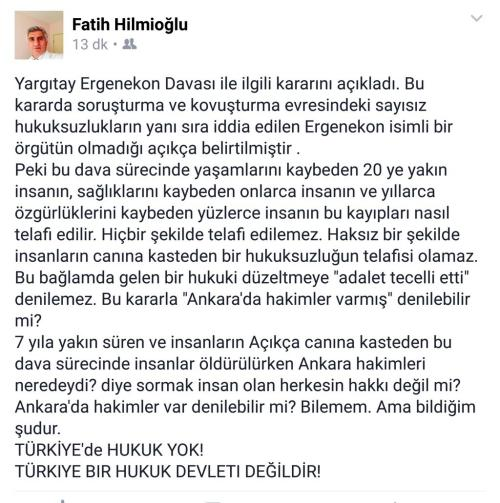 Prof. Hilmioğlu 'Türkiye'de hukuk yok' dedi.