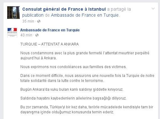 Fransa başsağlığı diledi.