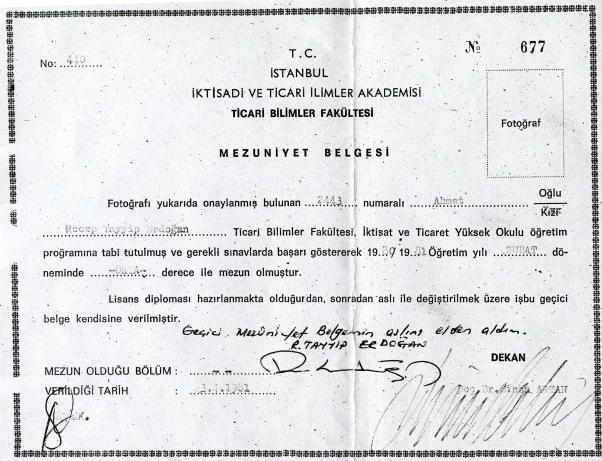 E. Poyraz'ın yayınlamış olduğu Marmara Üniversitesi öncesi Erdoğan diploma örneği...