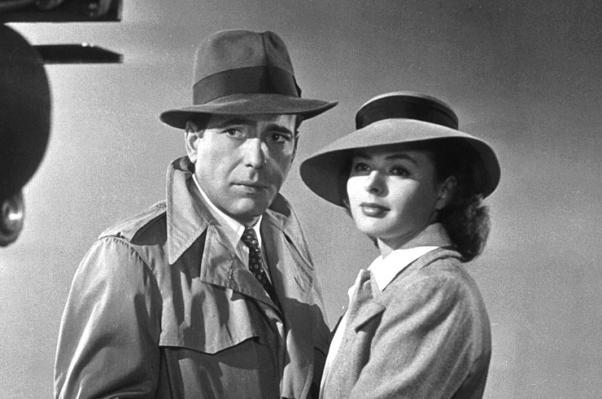 Humphrey Bogart ve İngrid Berman Kazablanka filminde.