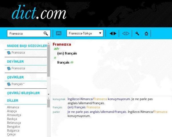 Le site du dictionnaire Français-Turc.