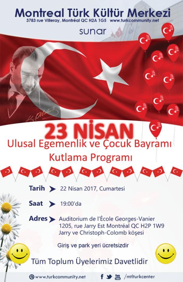 Montreal Türk Kültür Merkezi'nden 23 Nisan kutlaması.