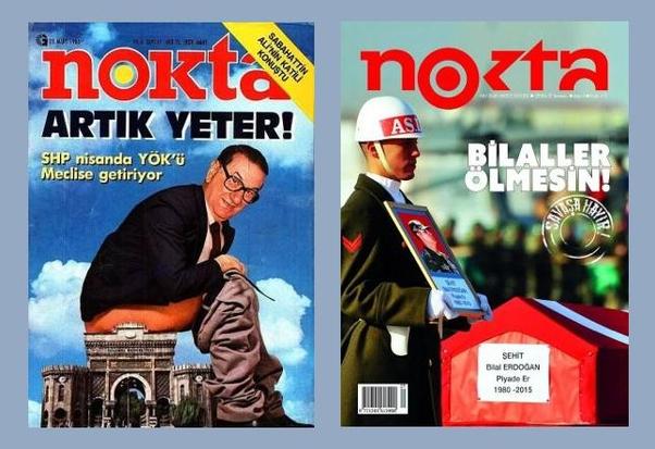Ce n'est pas nouveau que le magazine Nokta produit les couvertures en photo-montage, et n'a jamais une question de poursuite, même à l'époque de coup d'état, 1980...