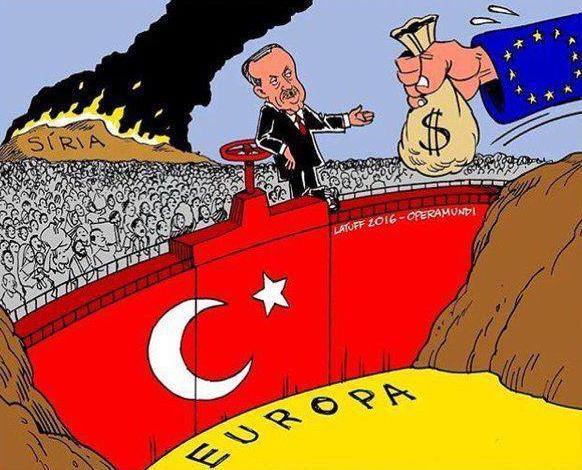 Latuff AB-Türkiye sığınmacı pazarlığını çizdi.
