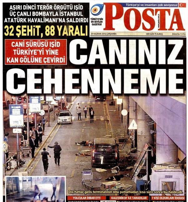 Bugünkü gazeteler saldırıyı böyle gördü.
