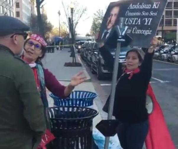 Bir AKP'li protesto eylemcilerini kışkırtmak istedi.