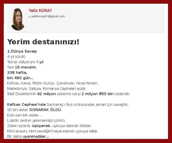 Yeliz Koray'ın 'Yerim Destanınızı' başlıklı yazısı.